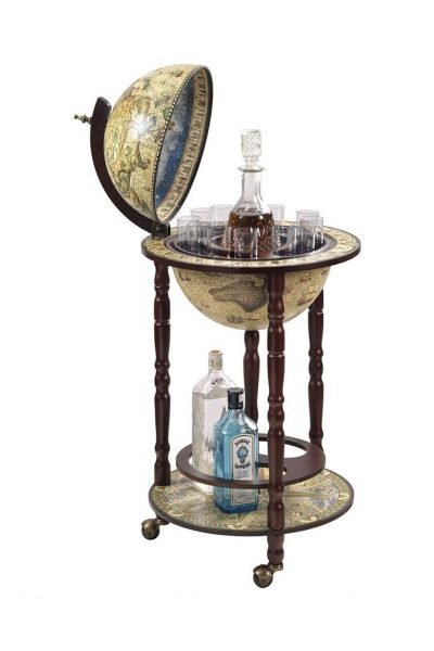 Product photo of the crema durata Sixteenth Century nautical floor globe bar Italian-style replica - open