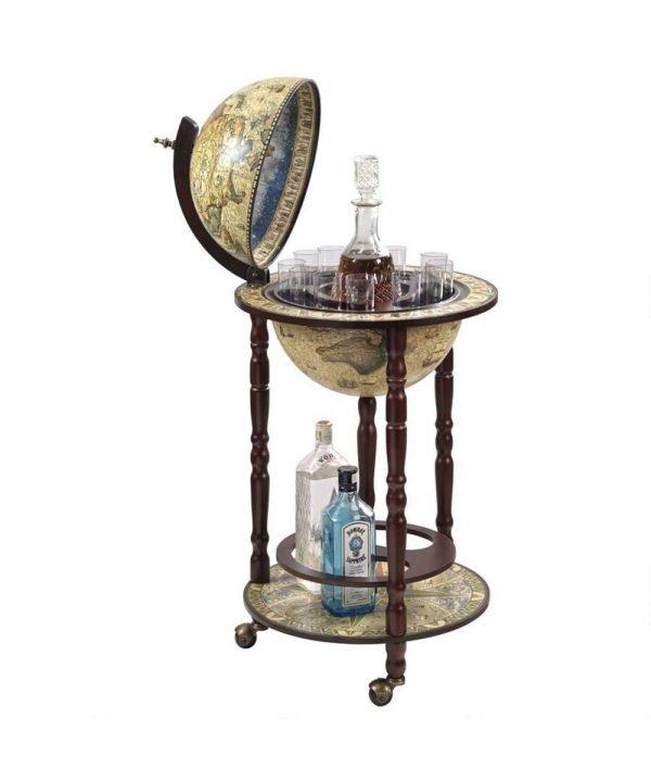 Product photo of the crema durata Sixteenth Century nautical floor globe bar Italian-style replica - open