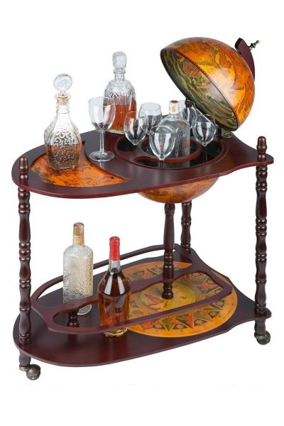 Product photo of the Old World globe bar cart