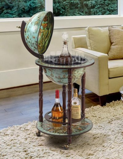 Studio photo of the cielo blue Sixteenth Century globe bar Italian-style replica - open