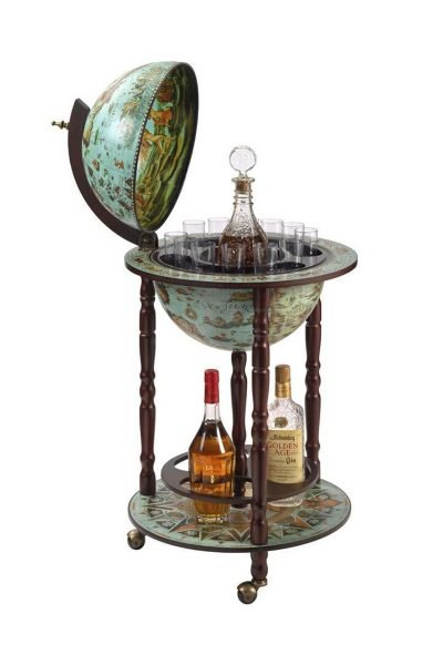 Product photo of the cielo blue 16th Century floor globe bar Italian-style replica - open
