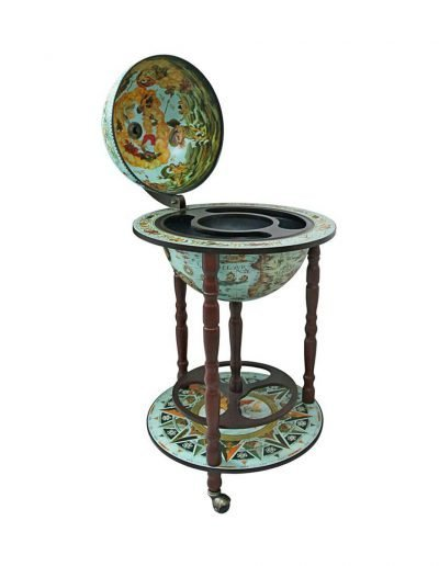 Product photo of the cielo blue Sixteenth Century globe bar Italian-style replica - open, empty