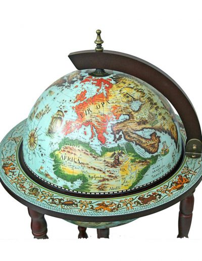 Product photo of the cielo blue Sixteenth Century globe bar Italian-style replica - top view