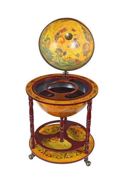 Product photo of the Italian-style 16th Century globe bar replica - open