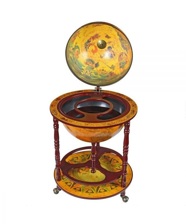 Product photo of the Italian-style 16th Century globe bar replica - open