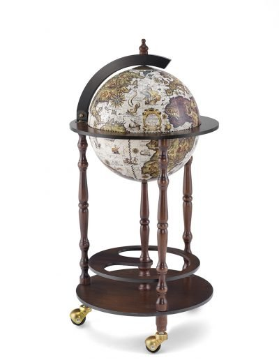 Product photo for the ivory white bar globe cabinet Allegro - closed