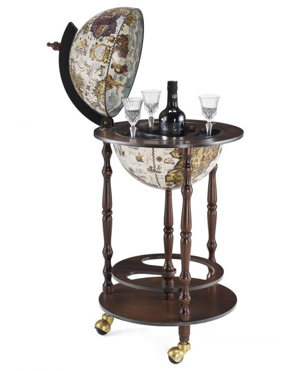 Product photo for the ivory white bar globe cabinet Allegro - open