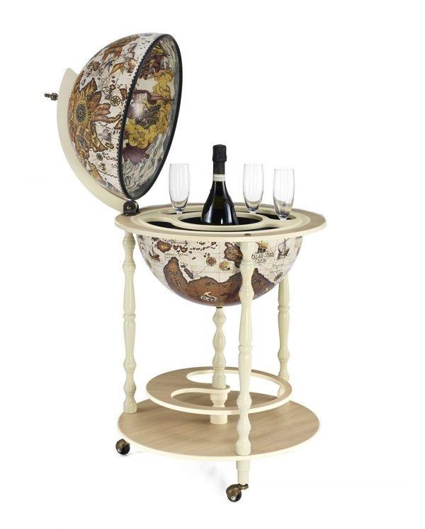 Product photo of the ivory white globe bar Tucano - open