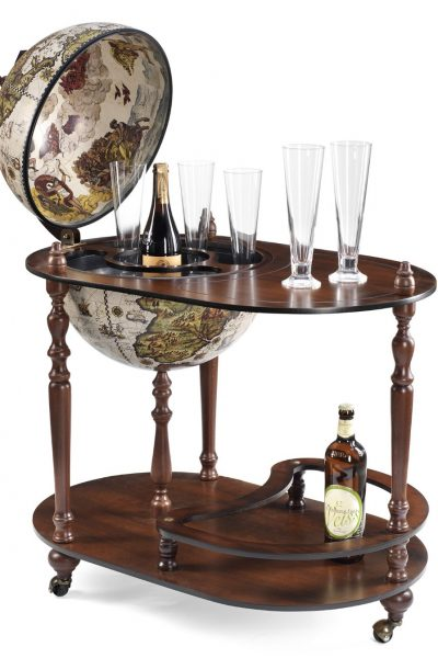 Product photo of the Sleek Vivalto Italian globe bar cart and serving trolley