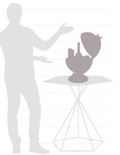 "Graphic of the size chart for the 13"" table globe Sfera"