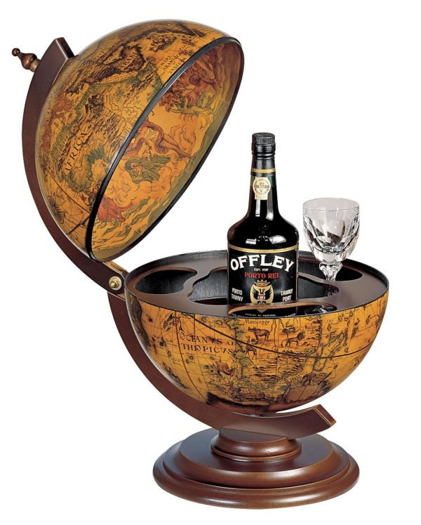 Product photo for the Sfera small table globe bar - coffee, open
