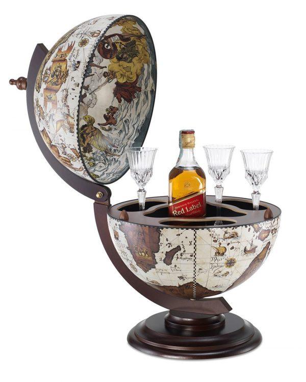 Product photo for the Sfera small desk globe bar - cream, open