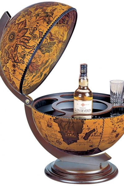 Product photo for the Sfera Italian table globe bar - coffee, open