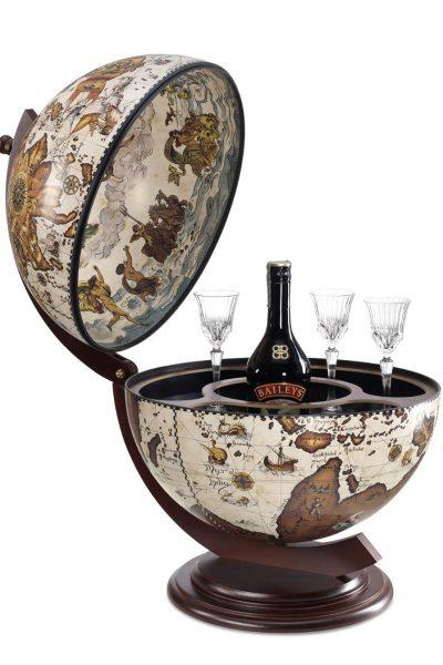 Product photo for the Sfera Italian tabletop globe bar - cream, open