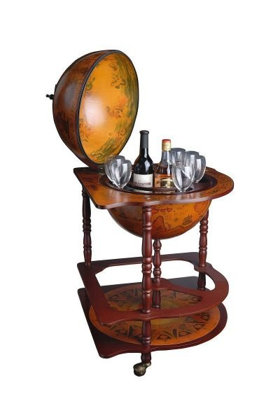 Product photo of Genova corner cabinet bar globe - open