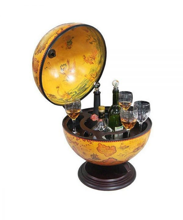 Product photo of the Salerno old world table globe bar - open