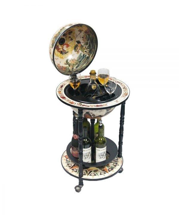 Product photo of the Rimini Bianco nautical map bar globe - open