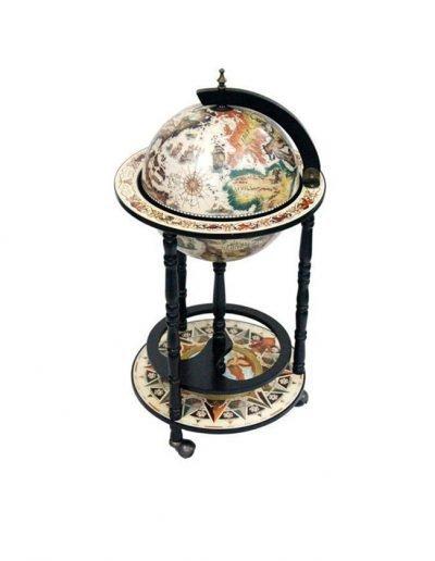 Product photo of the Rimini Bianco nautical map bar globe - closed