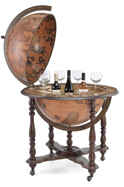 Product photo for the Majestic Achilles extra large bar globe on casters - open