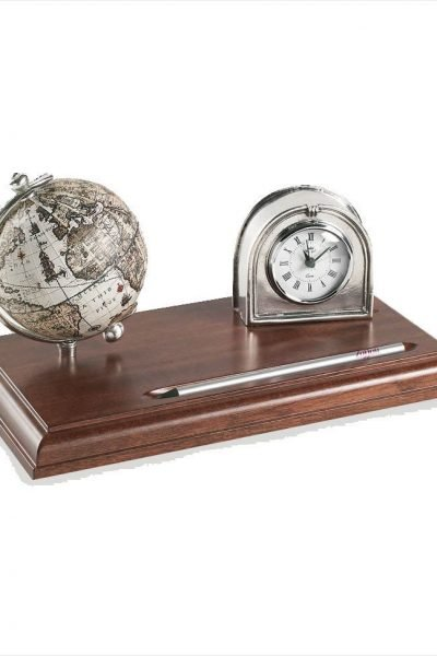 Product image for the pewter desk clock globe with 16th century replica map
