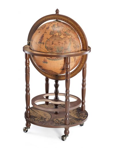 Product photo of the Mobile Minerva globe bar on wheels - classic, closed