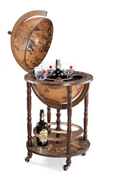 Product photo of the Mobile Minerva globe bar on casters - classic, open