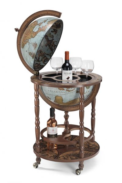 Product photo of the Mobile Minerva globe bar on wheels - blue ocean, open