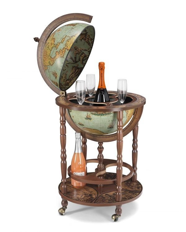 Product photo of the Mobile Minerva bar globe on casters - laguna, open