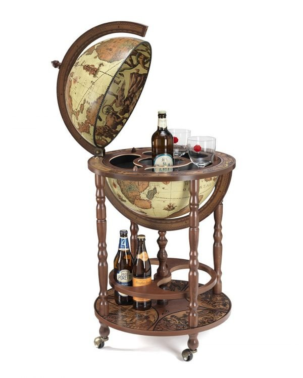 Product photo of the Mobile Minerva globe bar on wheels - safari, open