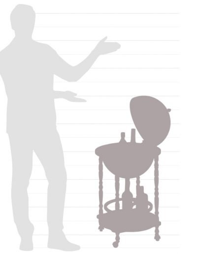 Size chart for the Enea floor globe bar