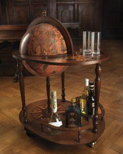 Studio photo of the Heroic Artemide Large Globe Bar Cart - front, closed