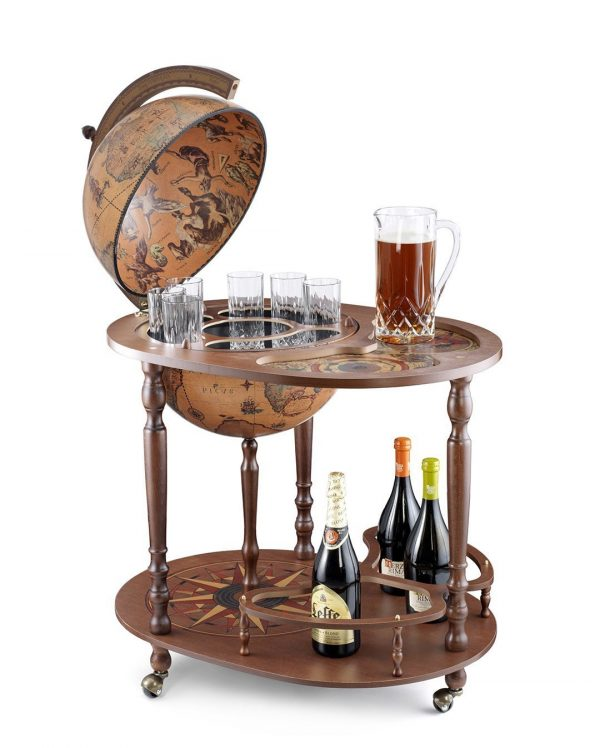 Product photo of the Giasone globe bar cart serving trolley - open