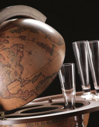 Studio photo of the Giasone bar globe cart serving trolley map close-up