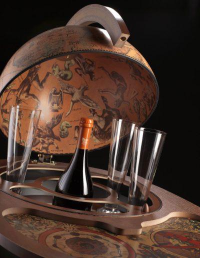 Studio photo of the Giasone bar globe cart serving trolley frescoes close-up
