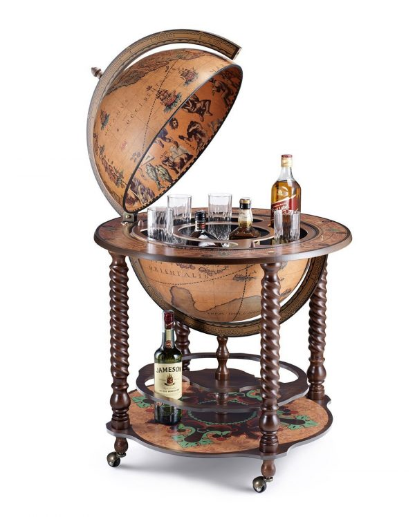 Product photo of the Noble Italian globe bar cabinet Bacco - open