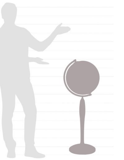 Graphic of the size chart for the Gea Pisces floor globe