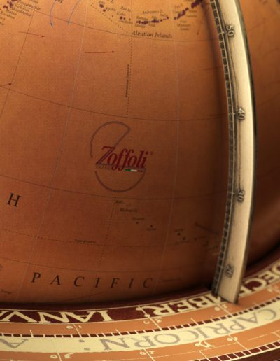 Studio photo of the Gea Aries extra large floor standing globe - close-up-logo