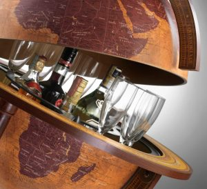 Studio photo of a Gea Collection bar globe like the Gea Virgo Extra Large World Globe Bar