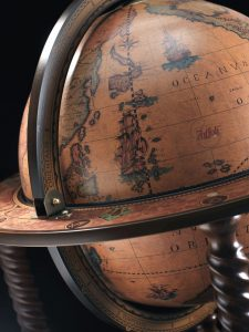 Studio photo of the Extra Large Spiral Leg Globe Bar Caronte for use in the classic globes collection page
