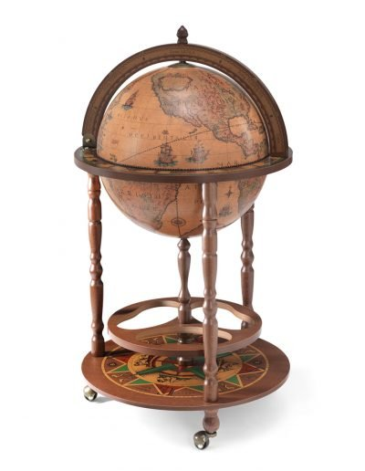 Product photo of the Roll-In vintage globe wine bar Giunone - classic, closed