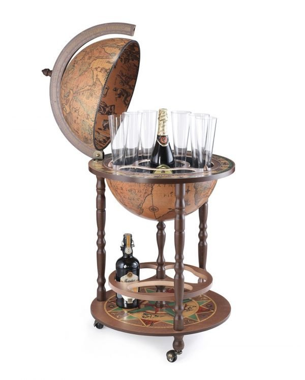 Product photo of the Roll-In Italian vintage globe bar Giunone - classic, open
