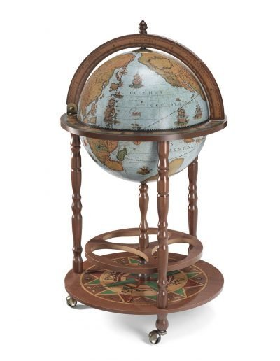 Product photo of the Roll-In vintage globe wine bar Giunone - blue ocean, closed