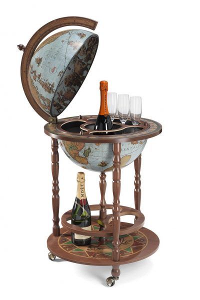 Product photo of the Roll-In vintage globe wine bar Giunone - blue ocean, open