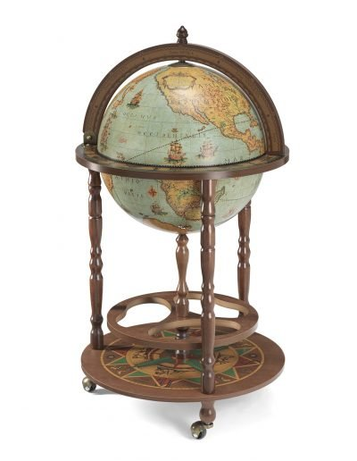 Product photo of the Roll-In Italian vintage bar globe Giunone - laguna, closed