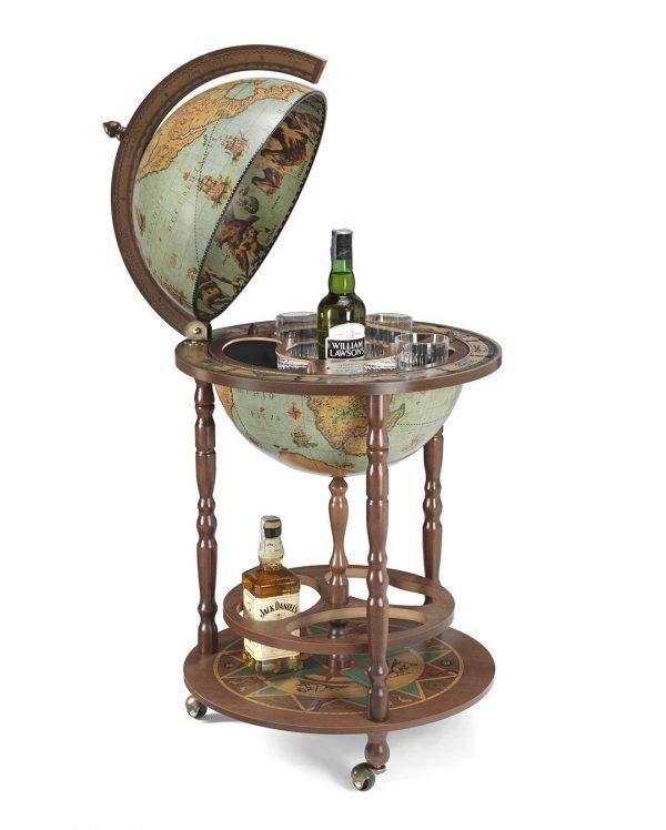 Product photo of the Roll-In Italian vintage bar globe Giunone - laguna, open