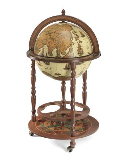 Product photo of the Roll-In vintage world globe bar Giunone - safari, closed