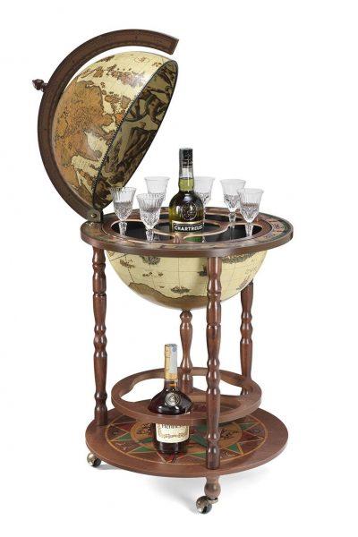 Product photo of the Roll-In vintage world globe bar Giunone - safari, open