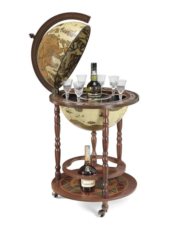 Product photo of the Roll-In vintage world globe bar Giunone - safari, open