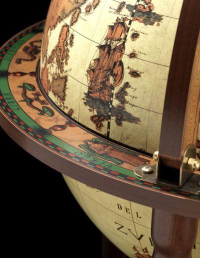Studio photo of the Roll-In vintage globe wine bar Giunone - safari, closed