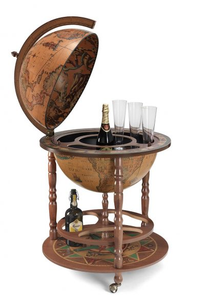 Product photo of the large globe drinks cabinet Calipso - classic, open